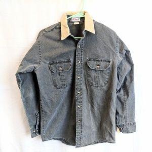 Orvis M vintage denim shirt jacket velvet collar